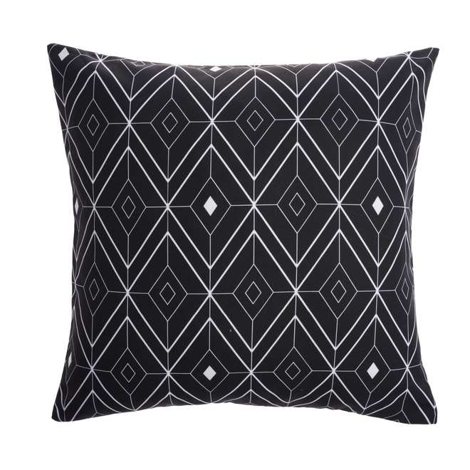Style Selections Outdoor Cushion - 16-in x 16-in - Polyester - White/Black