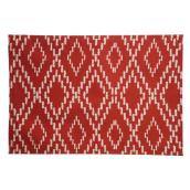 ALLEN + ROTH Reversible Placemat - Polyester - 19-in x 13-in - Red and White