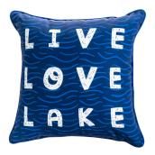 Outdoor Toss Pillow - Live Love Lake - 18-in x 18-in - Polyester - Blue