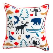 Toss Pillow - Wildlife Design - 18-in x 18-in - Polyester - Multicolour