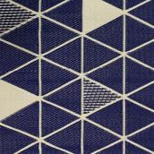 Tapis au motif triangulaire bleu et beige intérieur extérieur en plastique, 3 pi x 5 pi