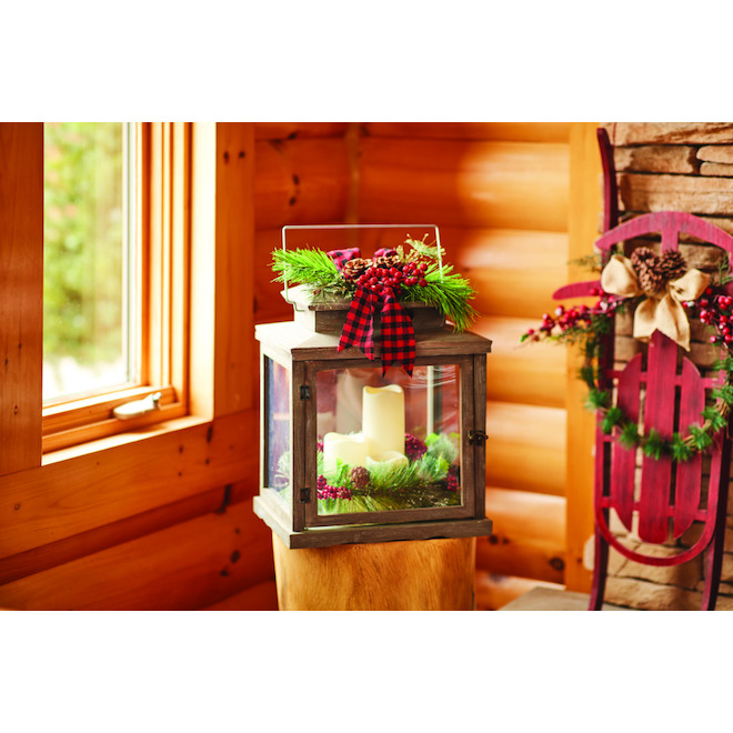 Lantern with 3 Battery-Operated Candles - LED - 13.5-in x 18-in - Wood - Red/Green/Brown