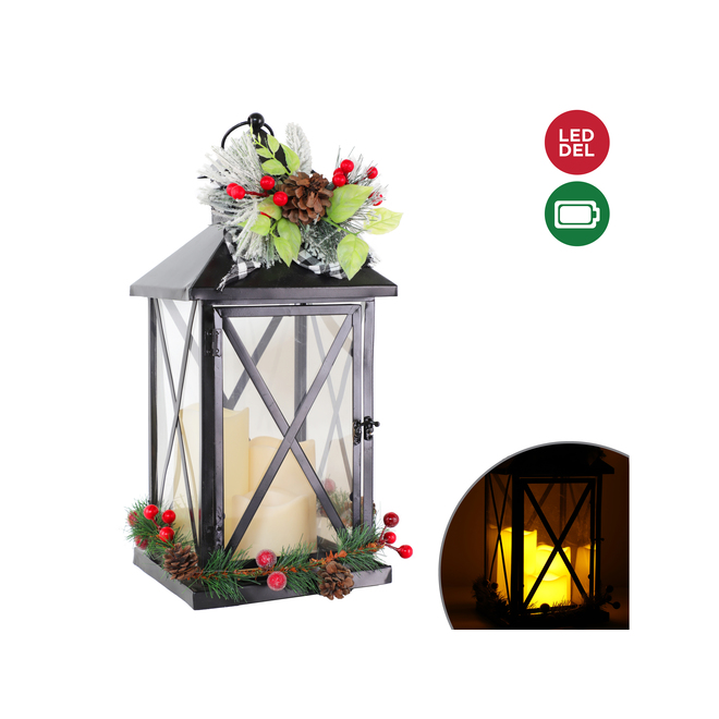 Hanging Lantern with 3 Battery-Operated Candles - LED - 9.45-in x 18-in - Metal - Black