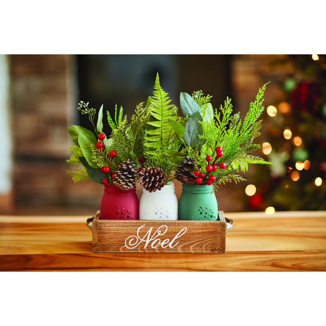 Decorated Mason Jars in Tray - 12.8-in x 10-in - Wood - Set of 3