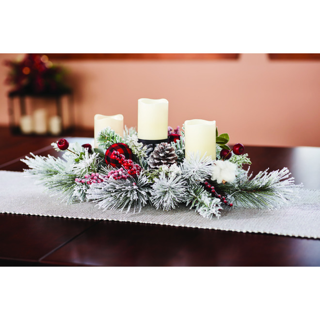 Dansons Snowy Pine Centrepiece Candle Holder - 7-in x 16-in x 24-in
