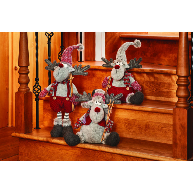Holiday Living Standing Moose - Burgundy and Grey