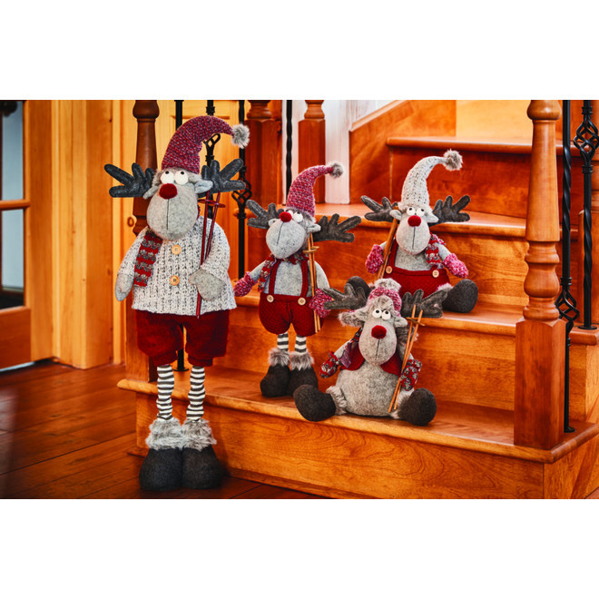 Holiday Living Standing Moose - 23 cm x 18 cm x 81 cm - Burgundy and Grey