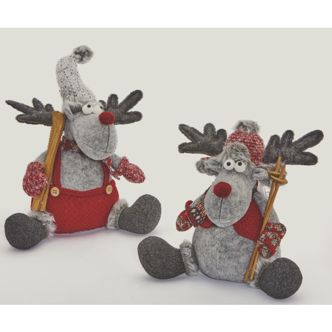 Holiday Living Standing Moose - 28 cm x 18 cm x 30 cm - Burgundy and Grey