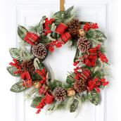 Holiday Living Decorated Wreath - Red Ribbons - 24-in