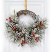 Dansons Snowy Pine Half Wreath - 20-in