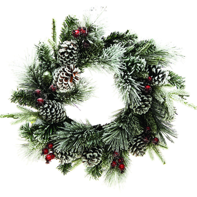 Dansons Snowy Decorated Wreath - 24-in