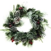 Dansons Snowy Decorated Wreath - 24-in - 65 Tips