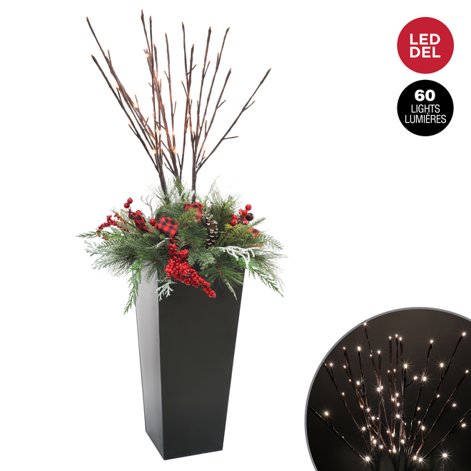 Dansons Decorated Arrangement - 60 Warm White LED Lights - 50-in