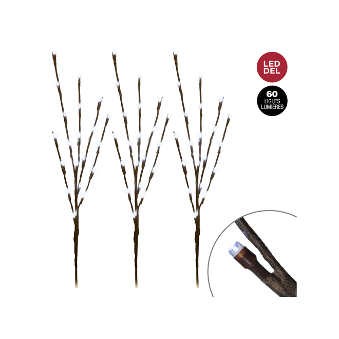 Dansons 3 LED Lighted Branches - Outdoor - 30-in - White - Pack of 3