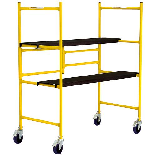 Mini-échafaudage portatif et ajustable Metaltech, jaune, acier, capacité de charge de 500 lb, 4 pi