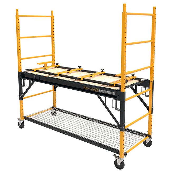 Système d'échafaudage 4-en-1 de Metaltech, jaune, acier, capacité de charge de 1100 lb, 6 pi