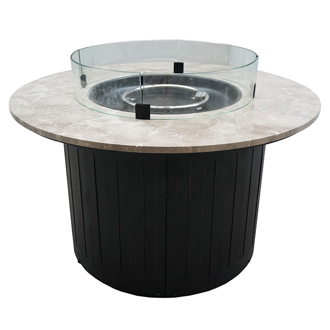 Propane Outdoor Fire Pit - Steel/Marble - Round - 40""