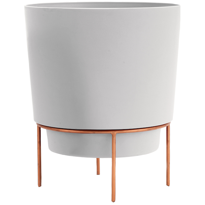 Bloem Planter with Metallic Stand - 10-in - White