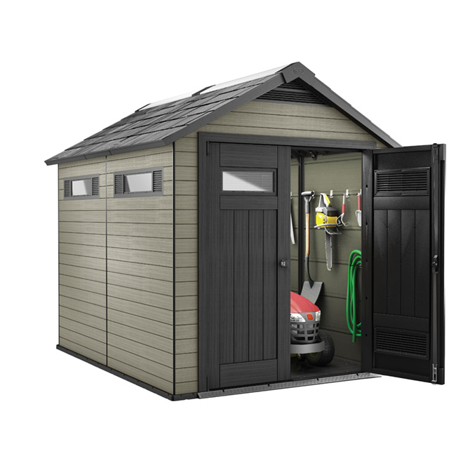 Fusion Garden Shed - 7 1/2' x 7' - Beige/Black