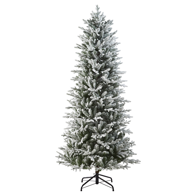 Living Christmas Tree.Pre Lit Flocked Slim Tree 7 5 1756 Tips
