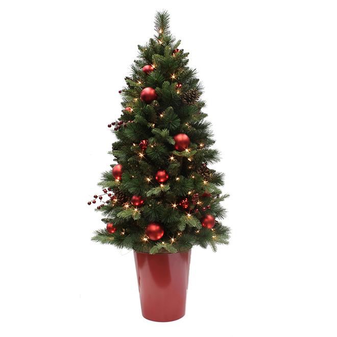 "Illuminated Christmas Tree - 26"" x 60"" - Green/Red"