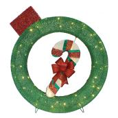 Ornament and Candy Cane - 70 LED Lights - 32'' - Green