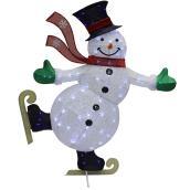 Bonhomme de neige patineur, 70 DEL, bleu et blanc froid, 54''