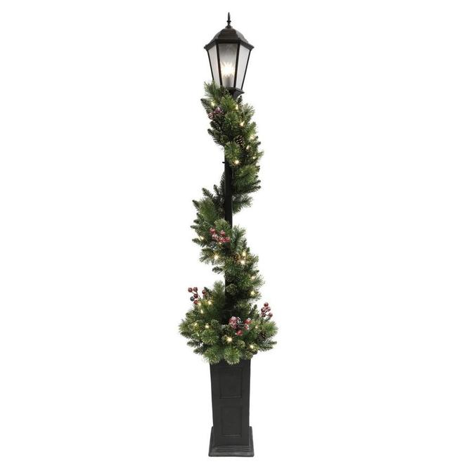 Holiday Living - Christmas Garland Lamp Post - 50 LED Warm White Lights - Indoor and Outdoor - 7-ft