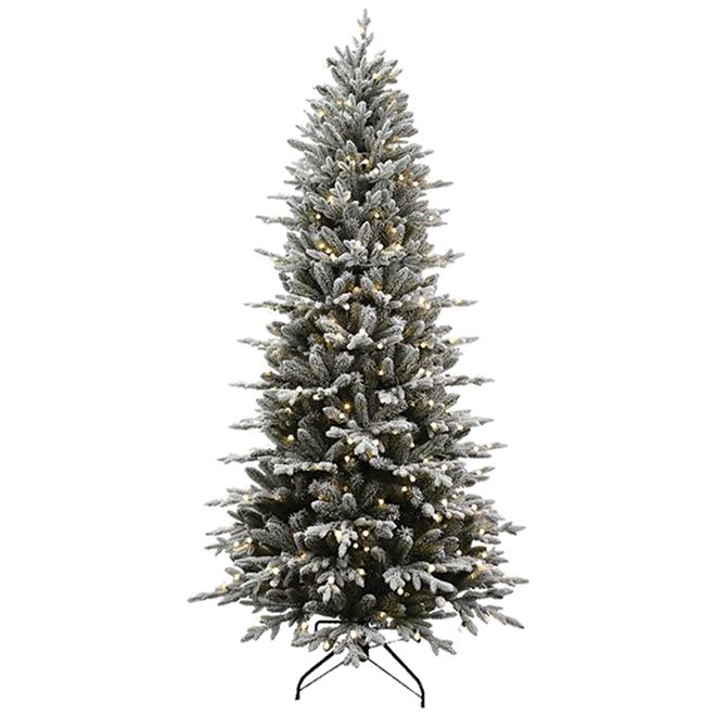 Arbre de Noël Essex illuminé et givré Holiday Living, 7,5 pi, 400 DEL G15 blanc chaud, 1756 pointes