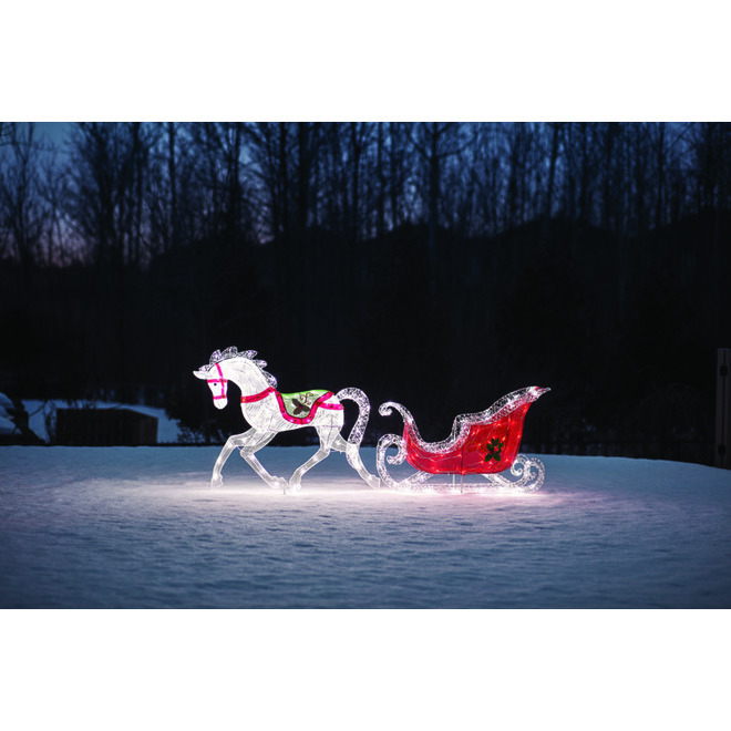 Holiday Living Lighted Horse With Sleigh with 200 LED Lights - White and Red