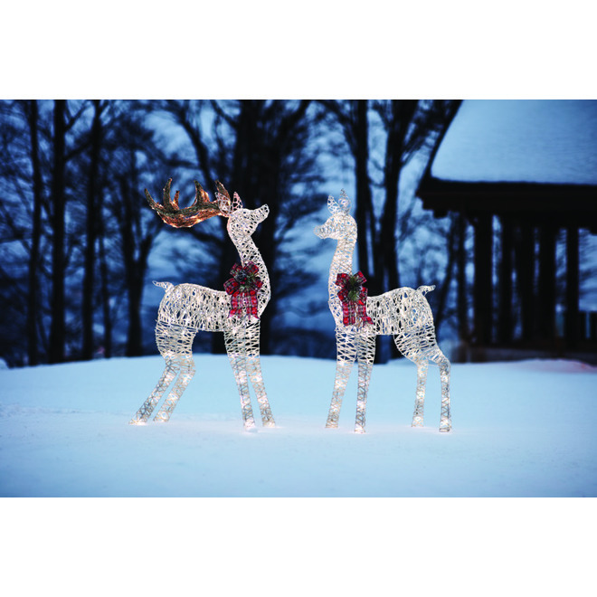 Holiday Living Lighted Elk with 105 LED Lights - 53-in - White