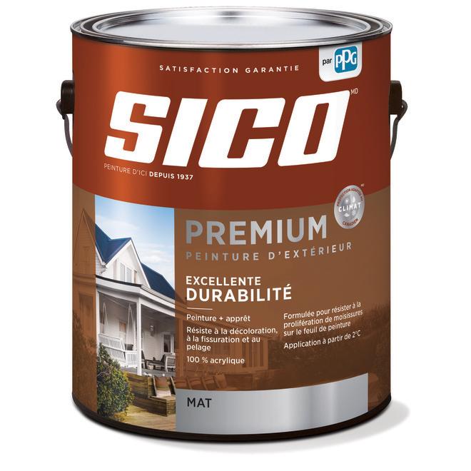 Peinture et apprêt d'extérieur Sico Premium, mat, blanc naturel, opaque, 3,7 L