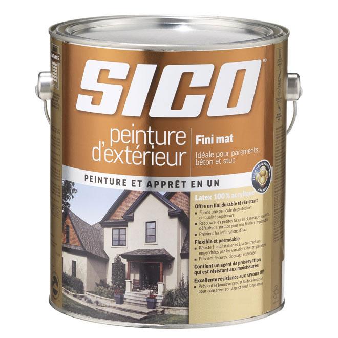 Peinture et apprêt d'extérieur au latex Sico, fini mat, base neutre, 3,5 L