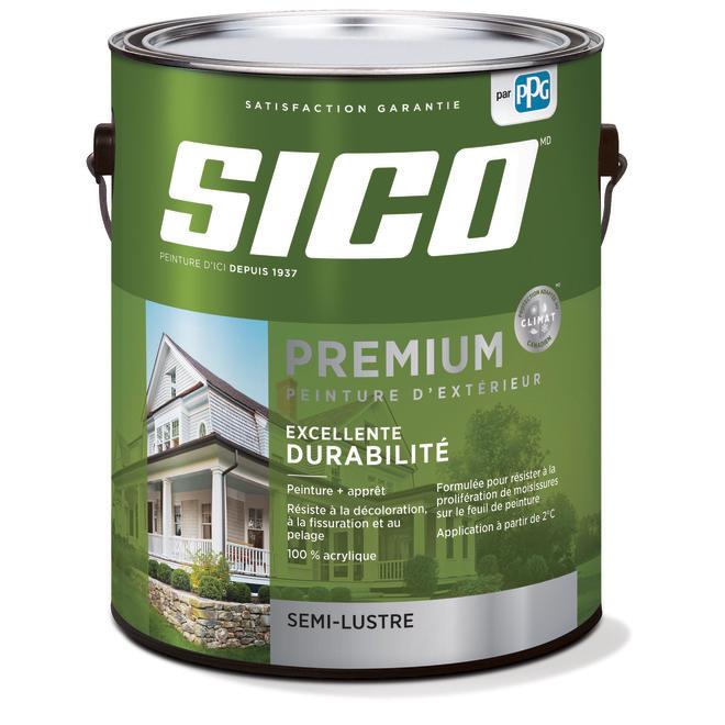 Peinture et apprêt d'extérieur Sico Premium, semi-lustré, blanc naturel, opaque, 3,78 L