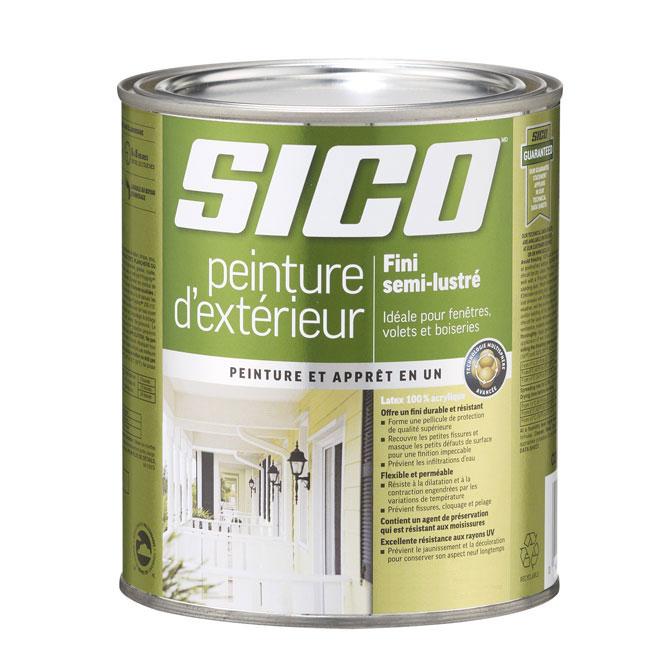 Peinture et apprêt d'extérieur Sico, semi-lustré, base neutre, opaque, 875 ml