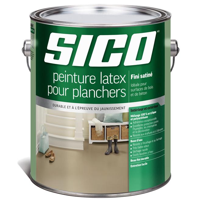 Peinture latex acrylique et polyuréthane pour plancher de bois et de béton Sico, fini satiné, base moyenne, 3,6 L