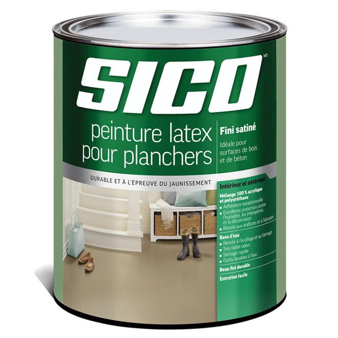 Peinture latex acrylique et polyuréthane pour plancher de bois et de béton Sico, fini satiné, base neutre, 875 ml