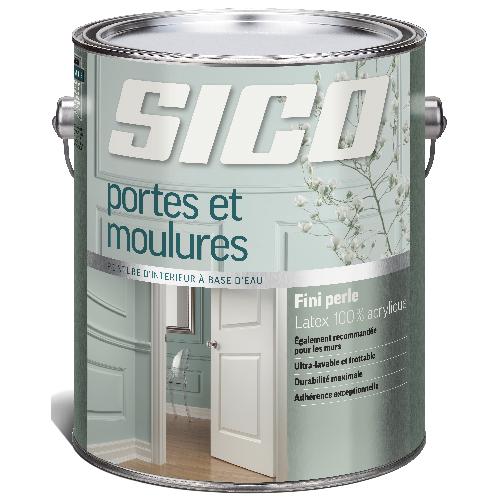 Peinture d'intérieur SICO pour portes et moulures, latex 100% acrylique, fini perle, 3,78 L, base 1