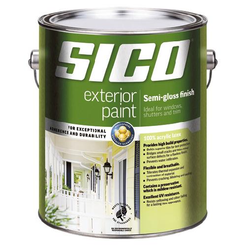 Sico Exterior Latex Paint - 946 ml - Semi-Gloss Finish - Pure White