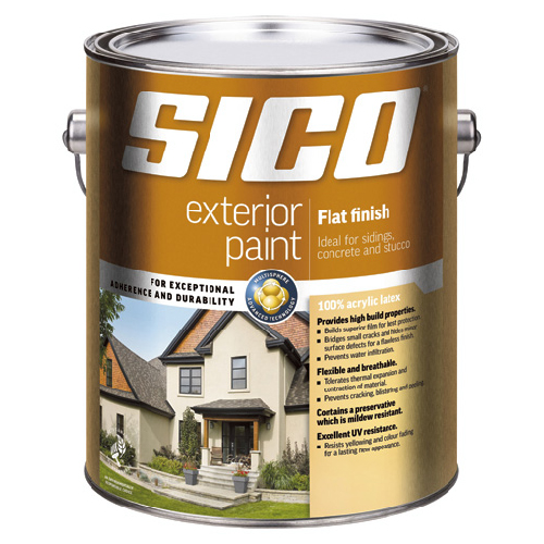 Sico Exterior Latex Paint - 3.78 L - Flat Finish - Pure White