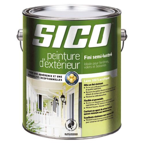 Peinture et apprêt d'extérieur pour bois Sico, semi-lustré, blanc pur, opaque, 3,78 L
