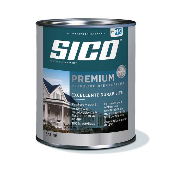 Peinture et apprêt d'extérieur pour bois Sico Premium, satiné, base 1, opaque, 946 ml