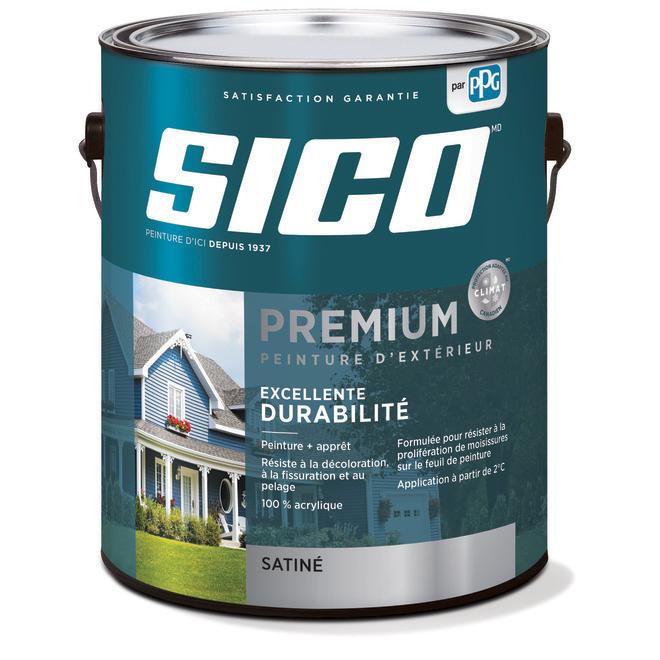 Peinture et apprêt d'extérieur pour bois Sico Premium, satiné, base 1, opaque, 3,78 L