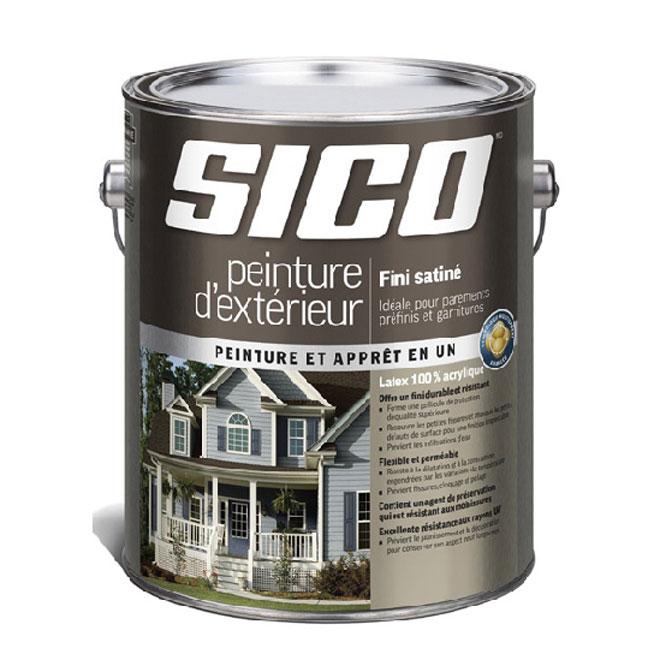 Peinture et apprêt d'extérieur pour bois Sico, satiné, base moyenne, opaque, 3,78 L