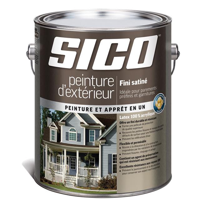 Peinture et apprêt d'extérieur pour bois Sico, satiné, base neutre, opaque, 3,78 L