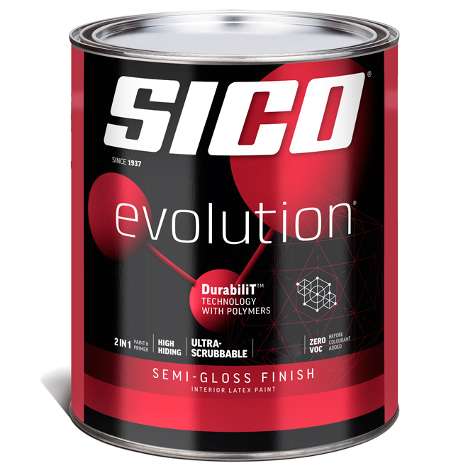 Sico Evolution Interior Paint and Primer - 946 ml - Pure White - Semi-Gloss