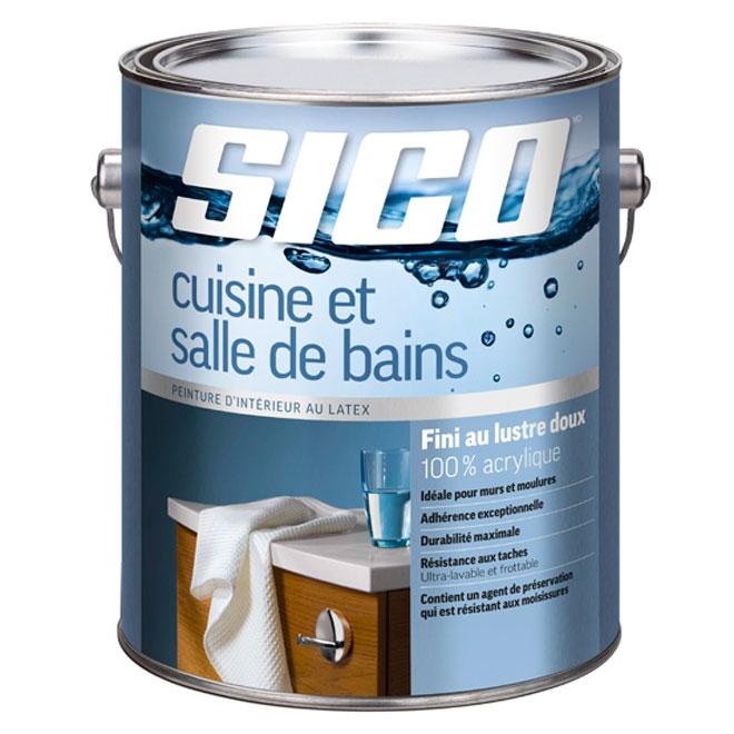 Peinture pour cuisine et salle de bains SICO, 100% acrylique, fini lustre doux, 3,78 L, blanc pur