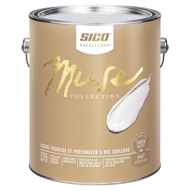 Peinture et apprêt d'intérieur SICO Muse au latex, mat atténué, 3,78 L, base 3