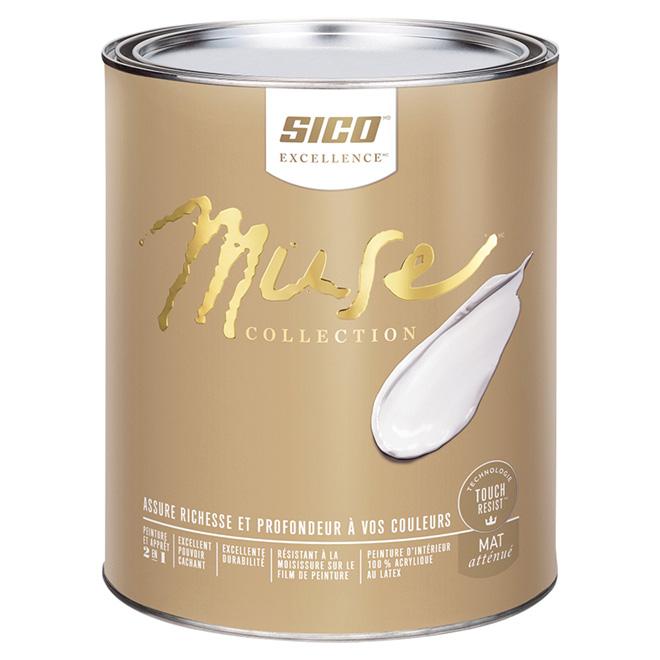 Peinture et apprêt d'intérieur SICO Muse au latex, mat atténué, 946 ml, base 4