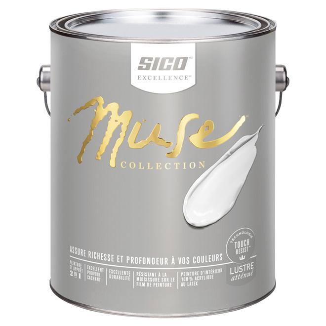 Peinture et apprêt d'intérieur Sico Muse, 3,78 l, latex, lustre atténué, blanc pur